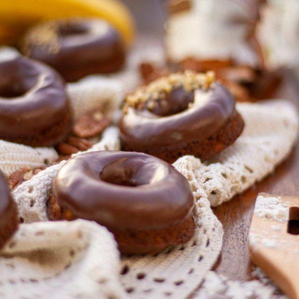 Baked Chocolate Banana Donuts